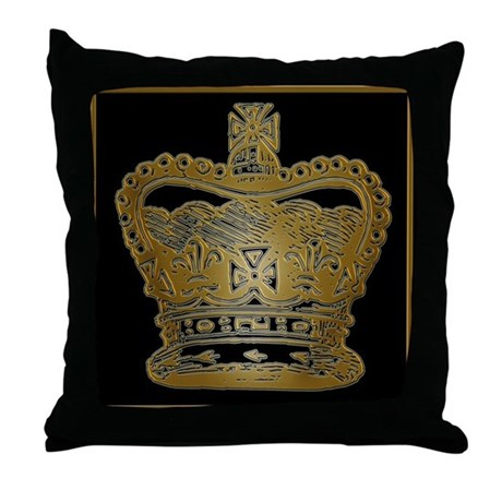 Gold Crown Throw Pillow : Royal Gold King s or Queen s Crown Throw Pillow by scarebaby