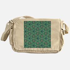 Teal Flower Celtic Knot Pattern Messenger Bag