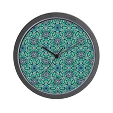 Teal Flower Celtic Knot Pattern Wall Clock