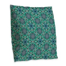 Teal Flower Celtic Knot Patter Burlap Throw Pillow