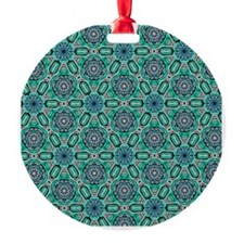 Teal Flower Celtic Knot Pattern Ornament