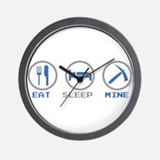Eat Sleep Mine Wall Clock