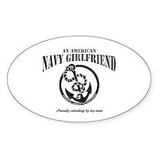 An American Navy Girlfriend Oval Decal
