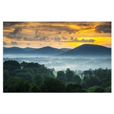 Asheville Nc Blue Ridge Mountains Sunset And Fog Poster