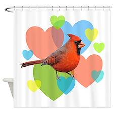 Cardinal Hearts Shower Curtain