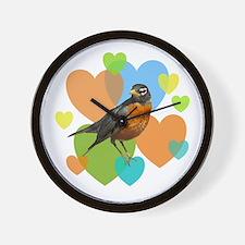 Robin Hearts Wall Clock