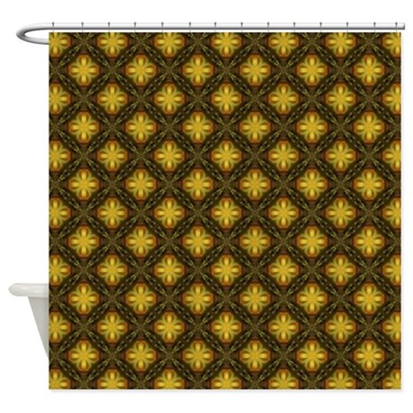 Gold And Brown Decorative Trellis Shower Curtain By Admin CP62117368