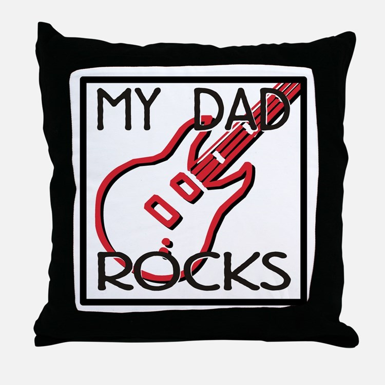 Father's Day My Dad Rocks Throw Pillow