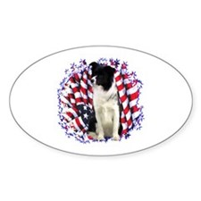 Border Collie Patriotic Oval Decal