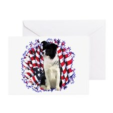 Border Collie Patriotic Greeting Cards (Package of