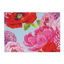 Pretty Pink Chic Cottage Roses 5'x7'Area Rug