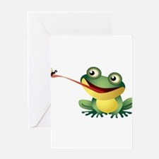 Frog Catching Bug Greeting Cards