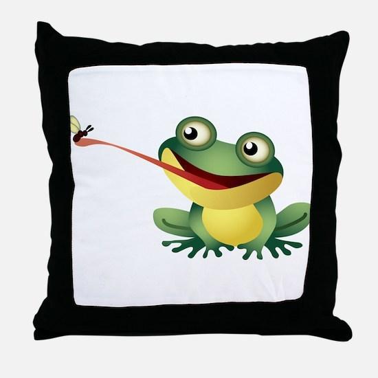 Frog Catching Bug Throw Pillow