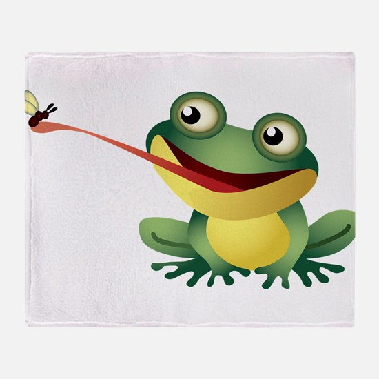 Frog Catching Bug Throw Blanket
