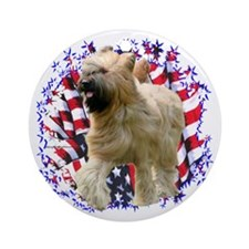 Briard Patriotic Ornament (Round)