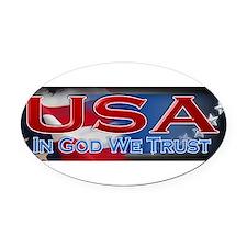 Cute God we trust Oval Car Magnet