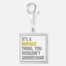 Its A Buffalo Thing Silver Square Charm