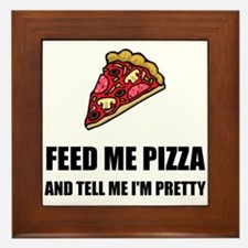 Feed Me Pizza Pretty Framed Tile