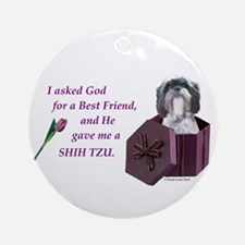 Shih Tzu (Black & White) Ornament (Round)