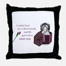 Shih Tzu (Black & White) Throw Pillow