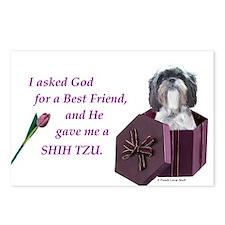 Shih Tzu (Black & White) Postcards (Package of 8)