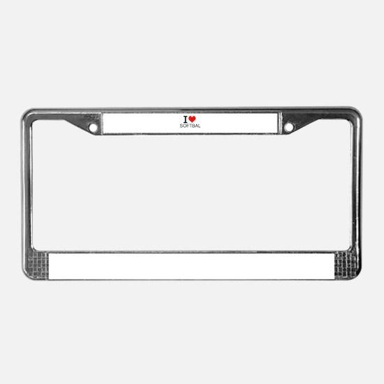 I Love Softball License Plate Frame