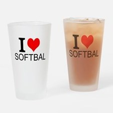 I Love Softball Drinking Glass