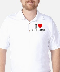I Love Softball Golf Shirt