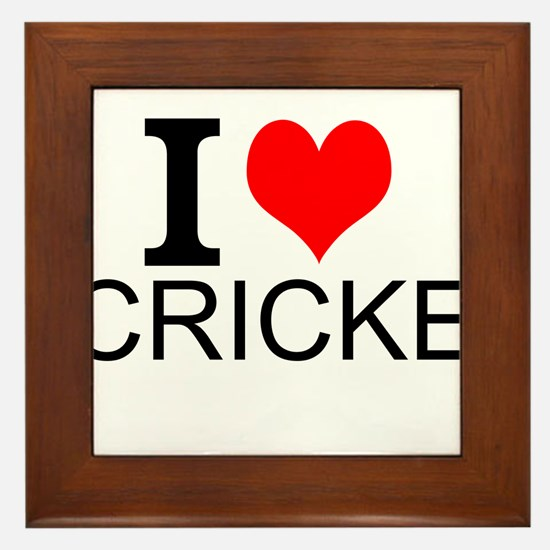 I Love Cricket Framed Tile