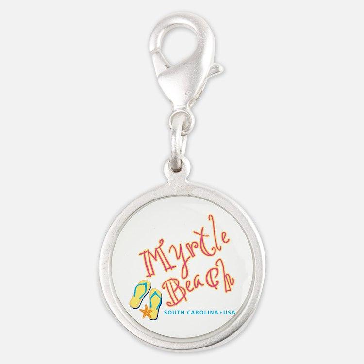 Myrtle Beach - Silver Round Charm