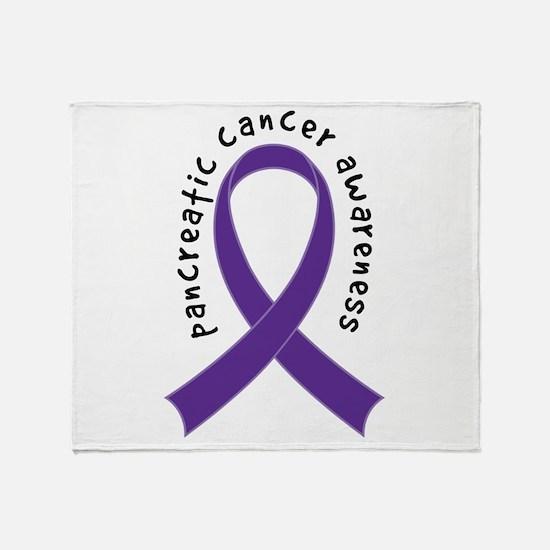 Pancreatic Cancer Ribbon Throw Blanket