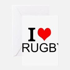 I Love Rugby Greeting Cards