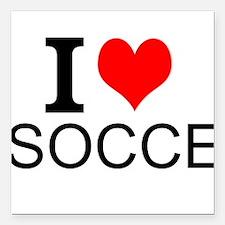 """I Love Soccer Square Car Magnet 3"""" x 3"""""""