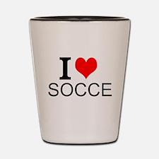 I Love Soccer Shot Glass