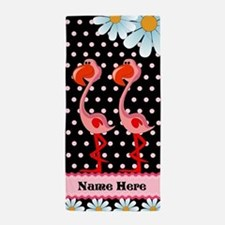 Flamingo, Daisy Polka Dot Custom Beach Towel