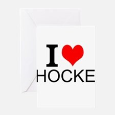 I Love Hockey Greeting Cards