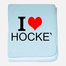 I Love Hockey baby blanket