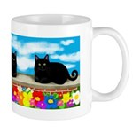 Black Cat Flowers Mug