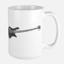 Electric Bass Shaped Word Cloud Mugs