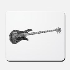 Electric Bass Shaped Word Cloud Mousepad