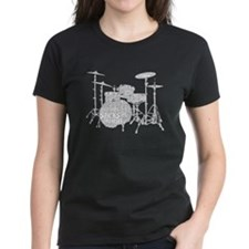 Drum Set Shaped Word Cloud T-Shirt
