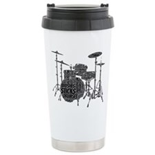 Drum Set Shaped Word Cloud Travel Mug