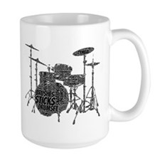 Drum Set Shaped Word Cloud Mugs