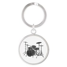Drum Set Shaped Word Cloud Keychains