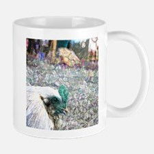 rooster foreground photo sparkle teal Mugs