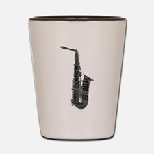 Alto Sax Shaped Word Cloud (Black Text) Shot Glass