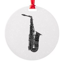 Alto Sax Shaped Word Cloud (Black Text) Ornament