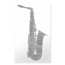 Alto Sax Shaped Word Cloud (Black Text) Decal
