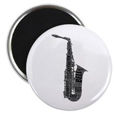 Alto Sax Shaped Word Cloud (Black Text) Magnets