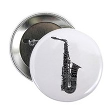 "Alto Sax Shaped Word Cloud (Black Text) 2.25"" Butt"
